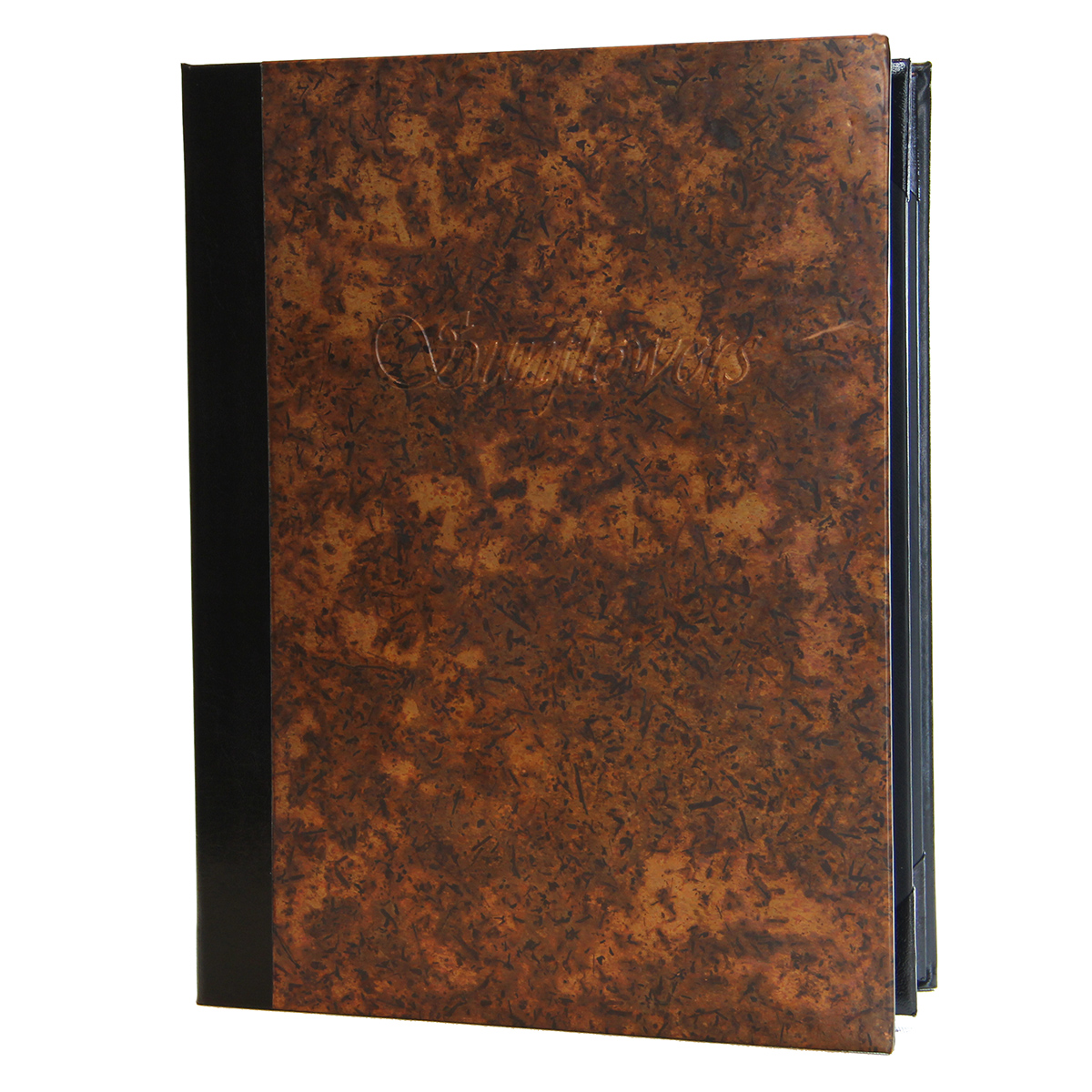 Aged Copper Two View Menu Cover 8.5x11 in distressed copper.