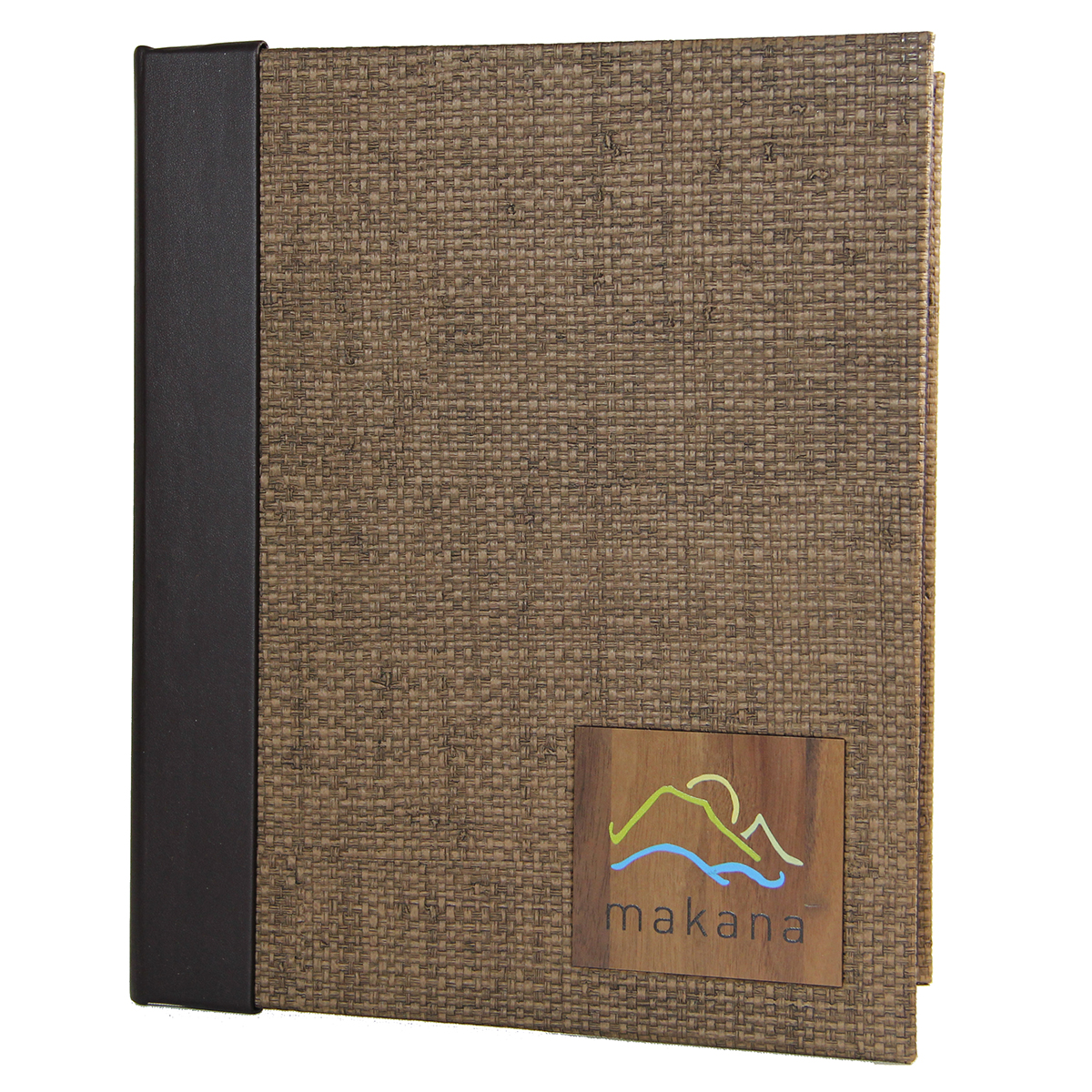 Bahama Weave Quarter Bind Screw Post Menu Cover with wood insert.
