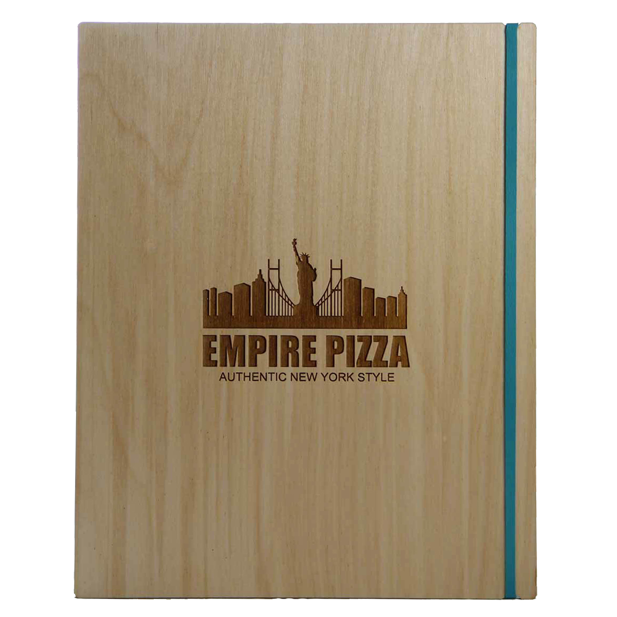 Baltic Birch Menu Board with Vertical Band 8.5x11 in natural finish with laser engraved logo.