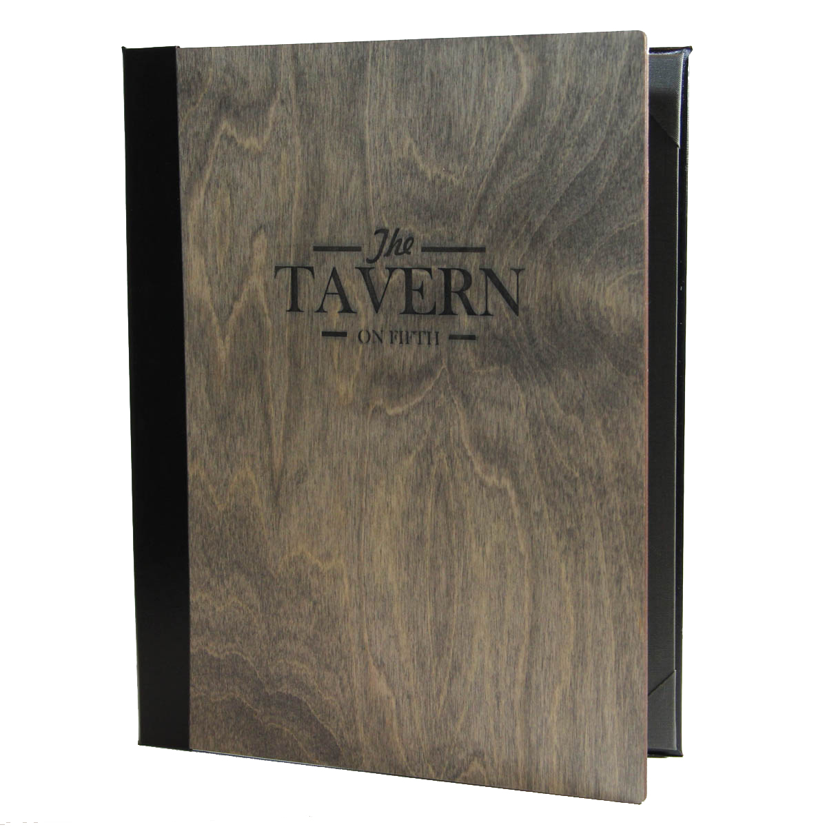 Baltic Birch Two View Menu Cover 8.5x11 in driftwood finish and black imitation leather spine.