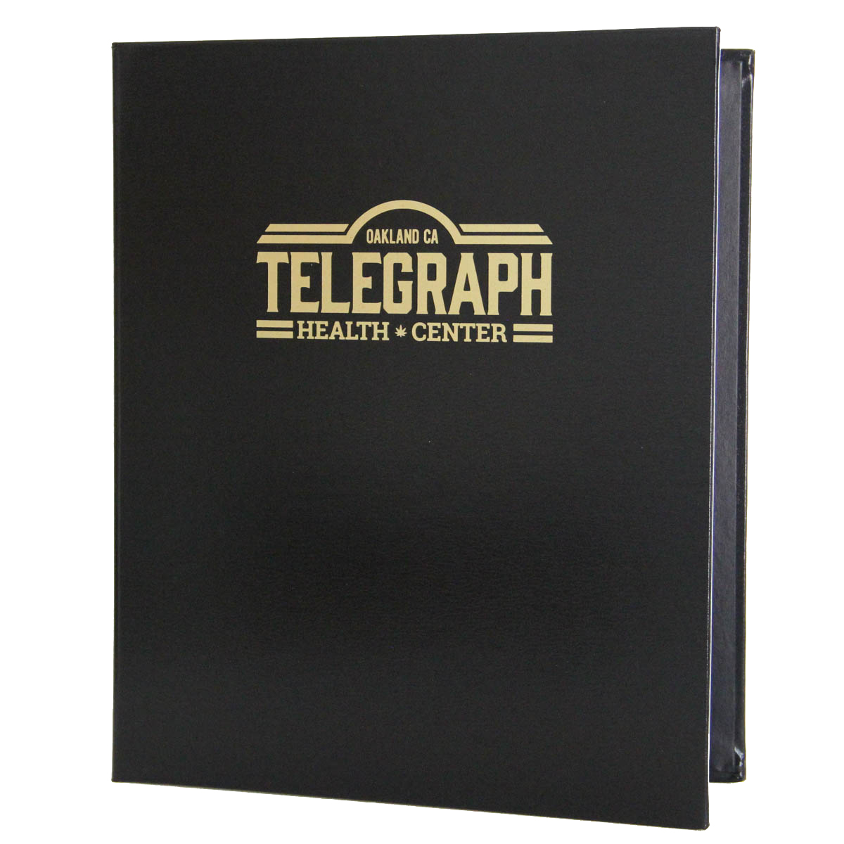 Bonded Leather Three Ring Binder 8.5x11 with gold foil stamp.