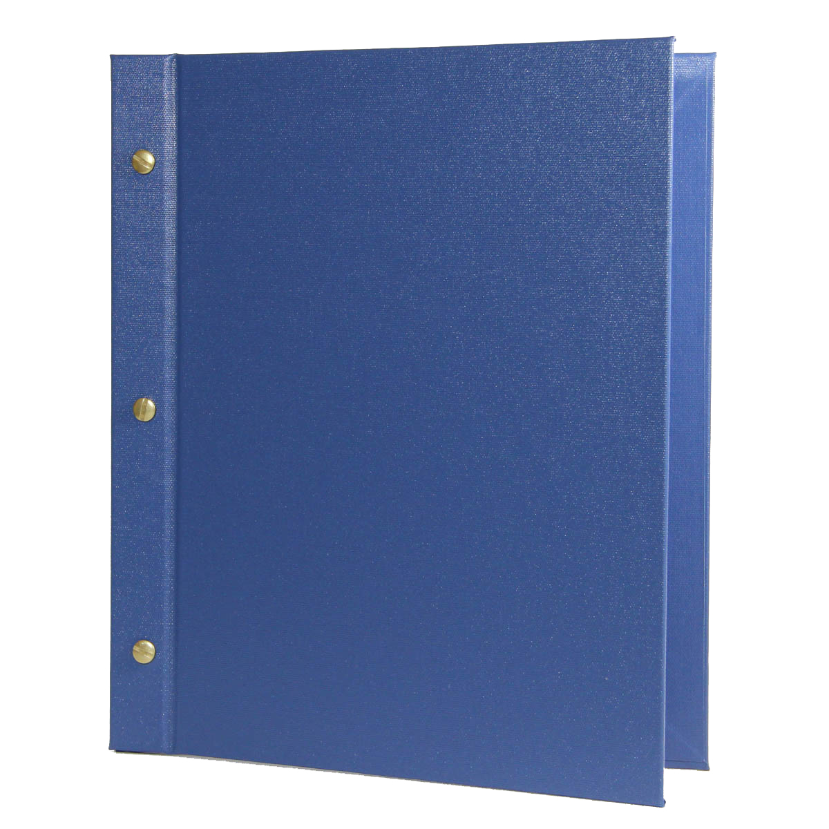 La Playa Chicago Menu Board 8.5x11 in azure blue with gold screws and posts.