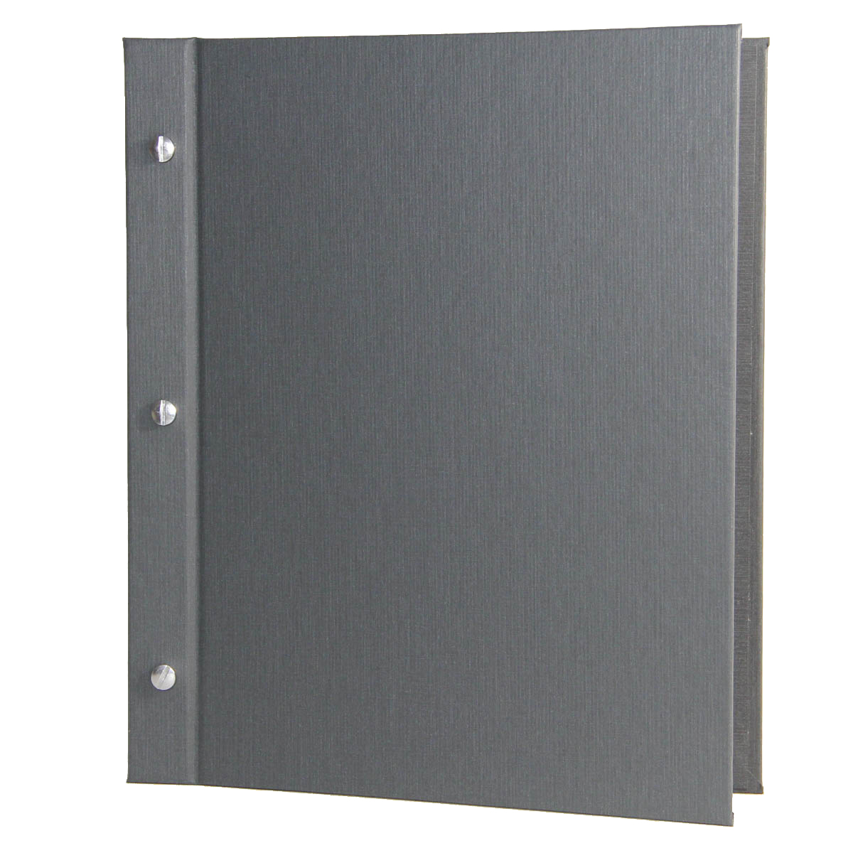 Summit Linen Chicago Menu Board 8.5x11 in charcoal with aluminum screws and posts.