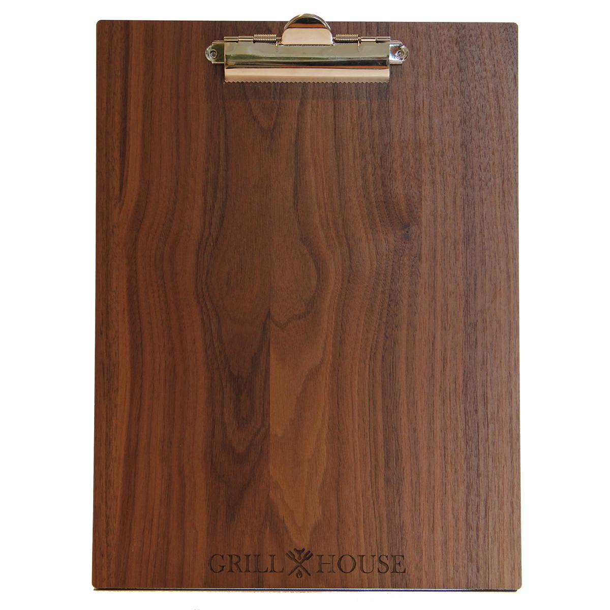 Solid walnut wood menu clipboard 8.5x11.